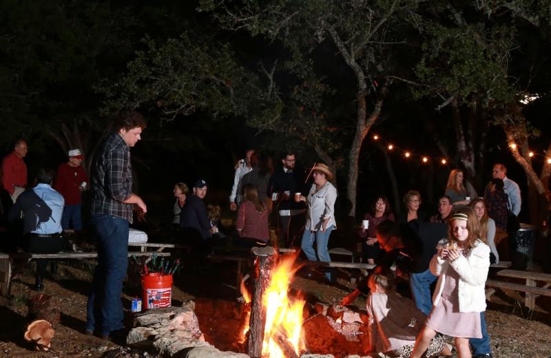 Campfire at The Retreat at Balcones Springs.