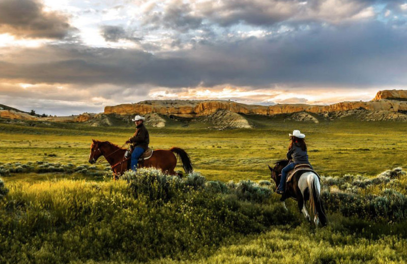 Horseback riding at Monster Lake.