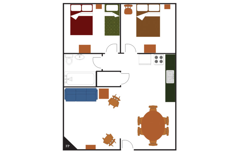 Room layout at Golden Eagle Lodge.