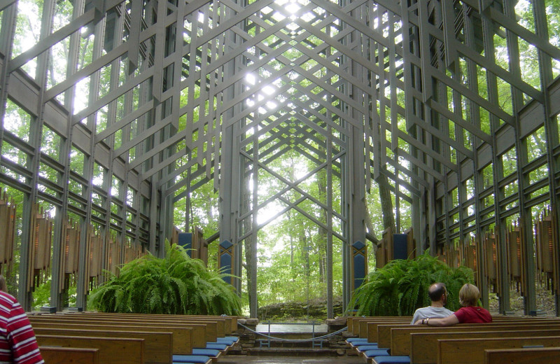 Thorncrown Chapel near Enchanted Forest Resort.