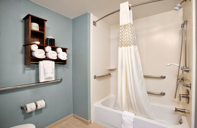 Guest bath room at Hampton Inn & Suites Outer Banks/Corolla.