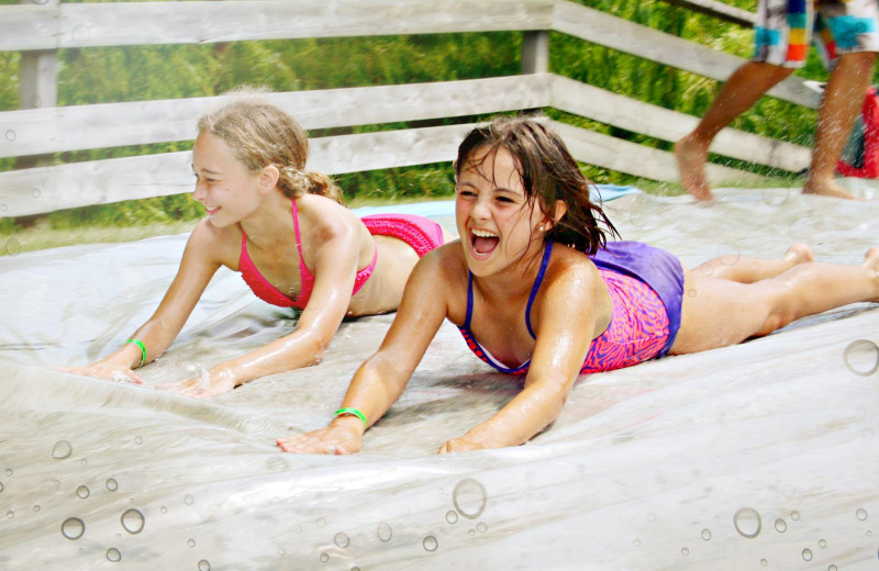 Outdoor summer activity: sliding
