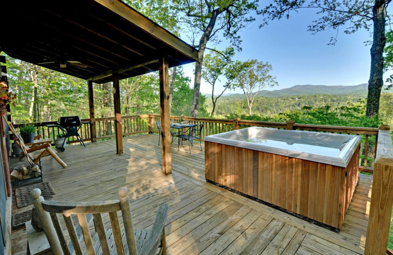 Deck view at Sliding Rock Cabins.