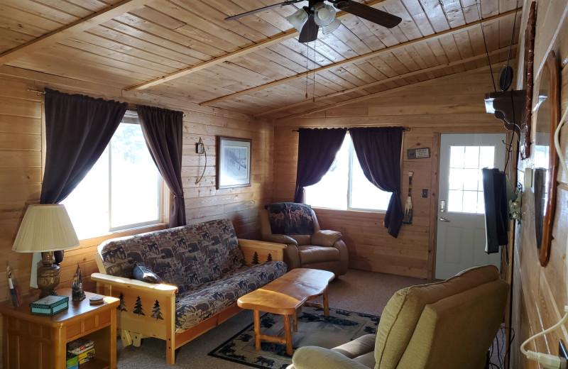 Cabin living room at Pine Beach Resort-Side Lake.