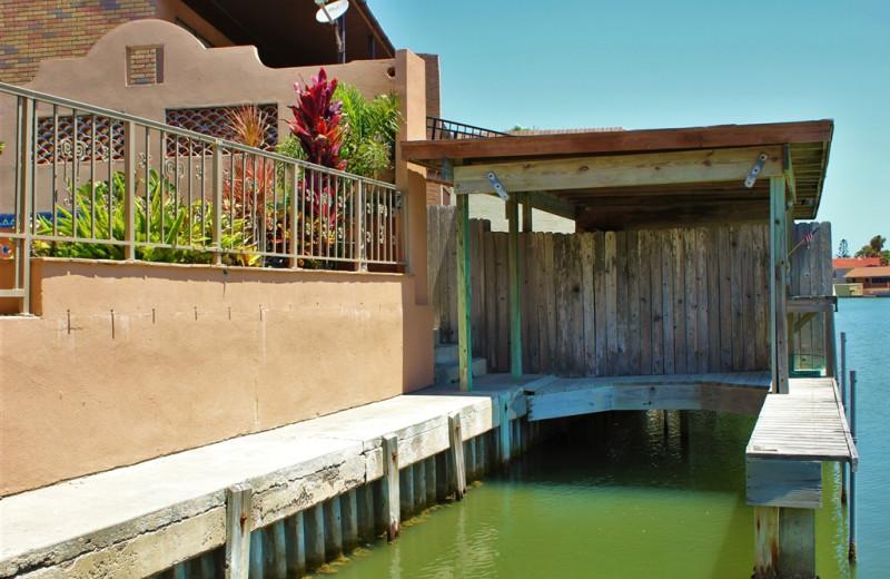 Rental dock at Padre Getaways.