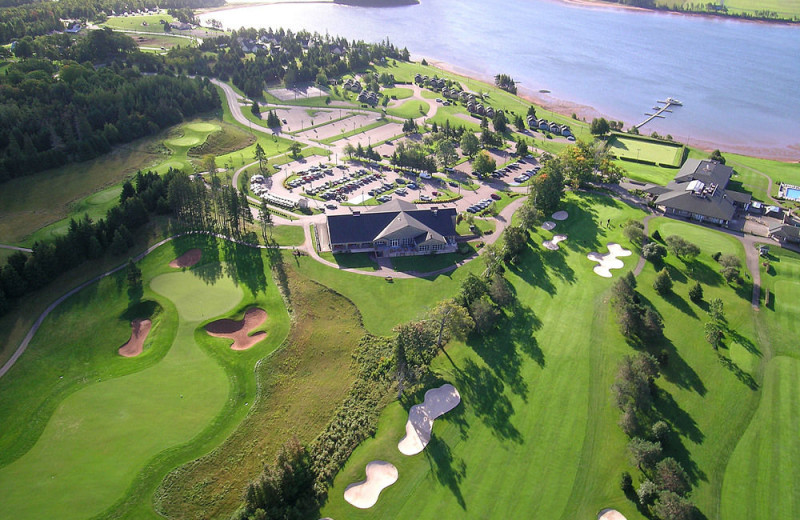 Aerial view of Rodd Brudenell River Resort.