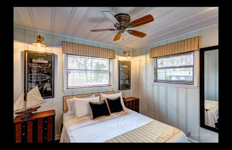 Cottage bedroom at Mallard Point Resort.