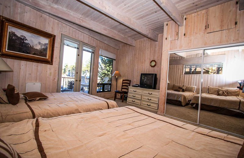 Rental bedroom at Big Bear Vacations.