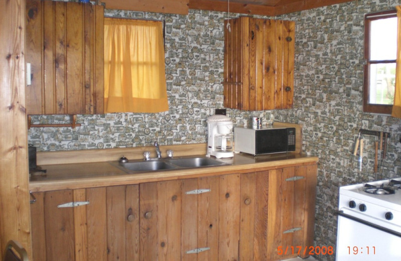 Cabin kitchen at Whispering Waters Resort.