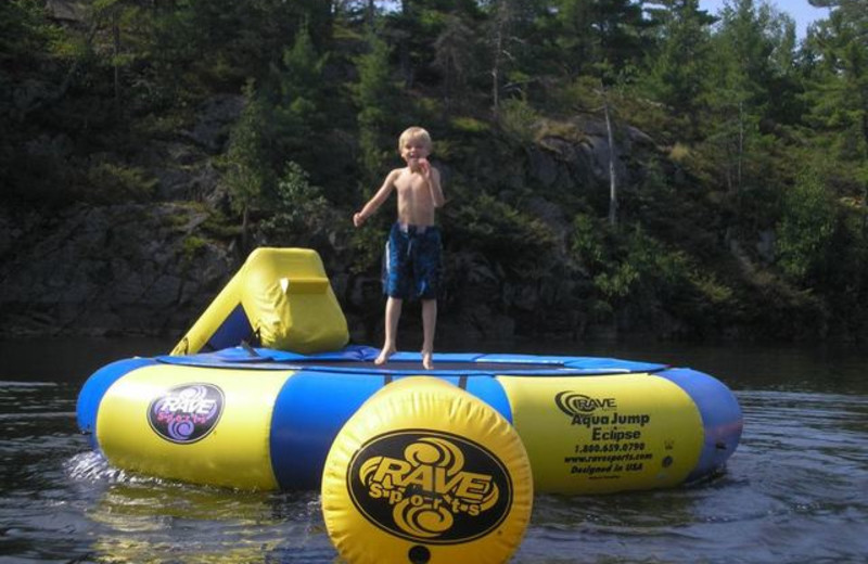 Water trampoline at Pleasant Cove Resort.