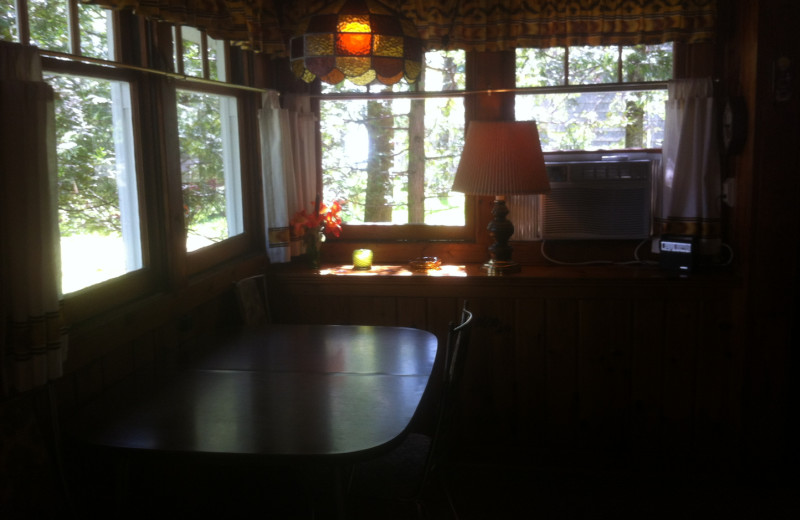 Cabin dining room at Radtke's Sabinois Point Resort.