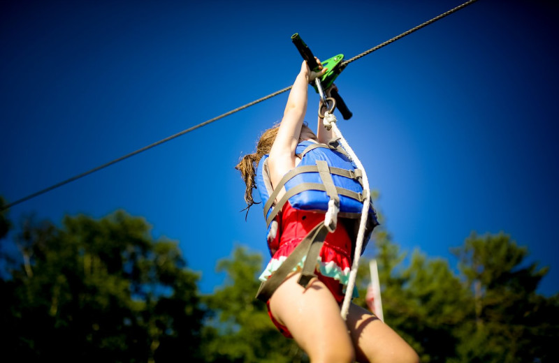 Zip line at Ludlow's Island Resort.