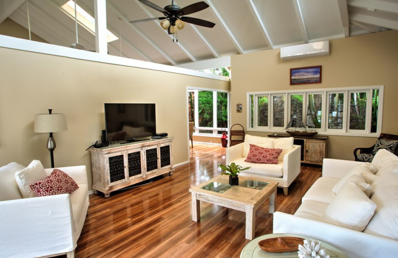 Rental living room at Hawaiian Vacation Rentals.
