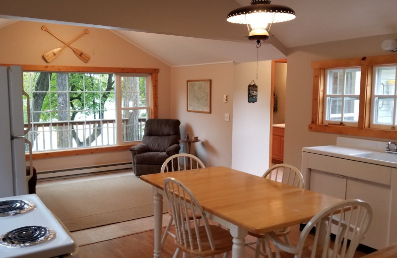 Cabin interior at Riverside Resort.