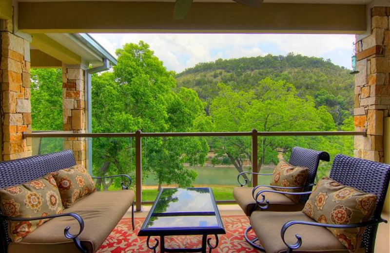 Rental balcony at New Braunfels Escapes.