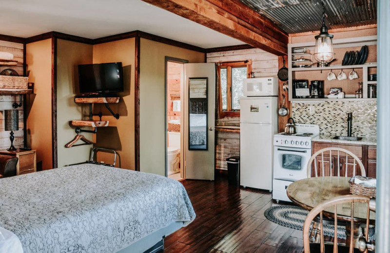 Cabin interior at Arkansas White River Cabins.