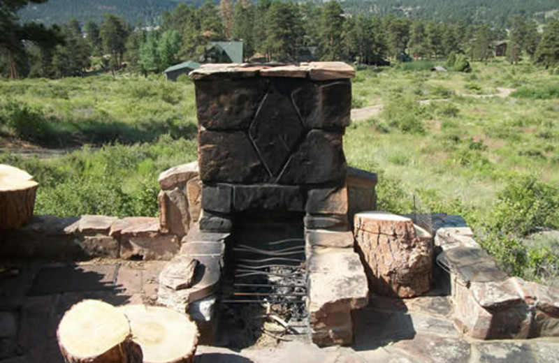 Cabin patio at Range Property Management.