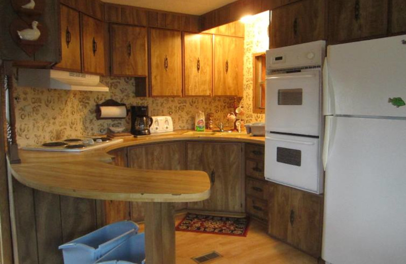 Cabin kitchen at Kec's Kove Resort.