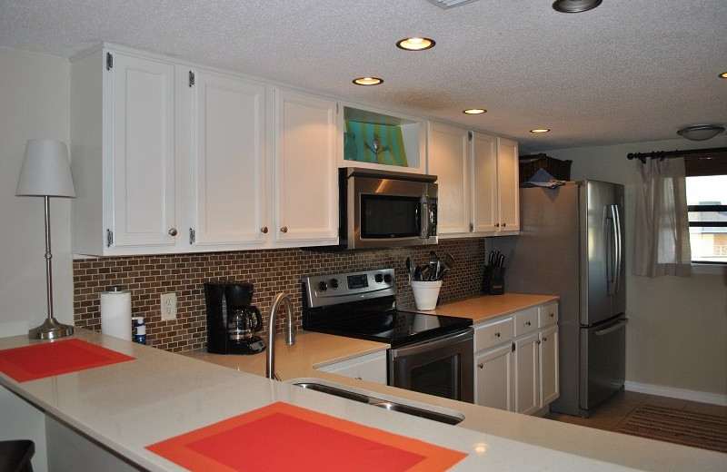 Rental kitchen at Moonspinner Condominium.