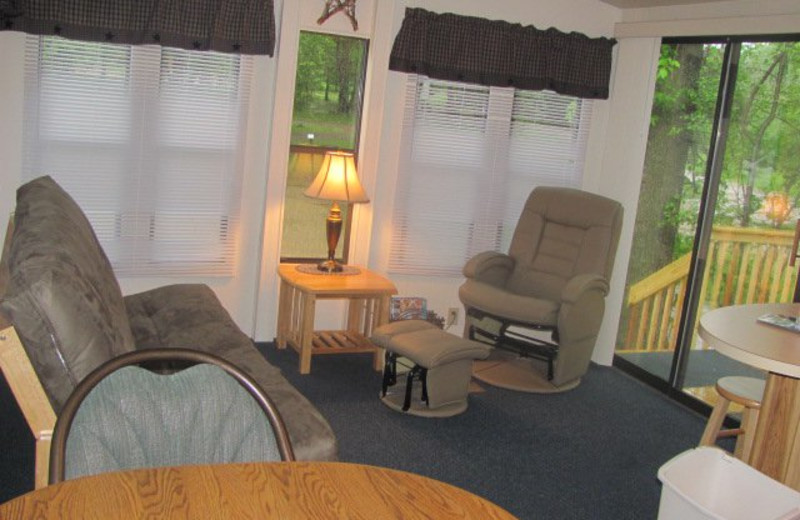 Cabin Living Room at Baraboo Hills Campground