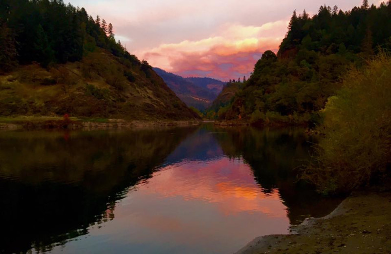 Sunset at Morrison's Rogue River Lodge.