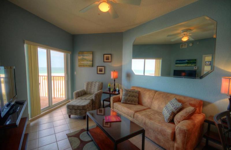 Rental living room at Sunsational Beach Rentals. LLC.