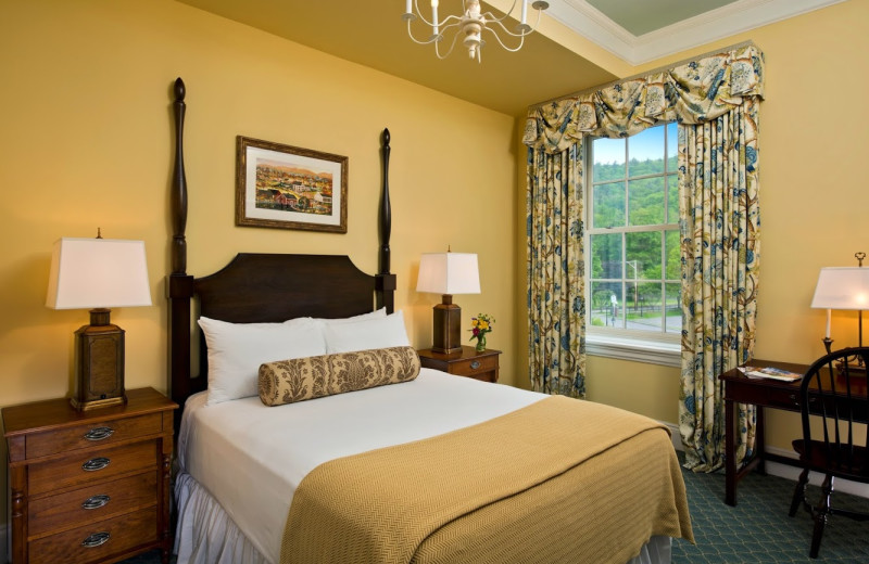 Guest room at The Otesaga Resort Hotel.