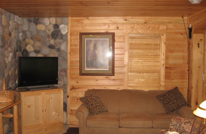 Rental living room at Northwoods Vacation Lodgings.