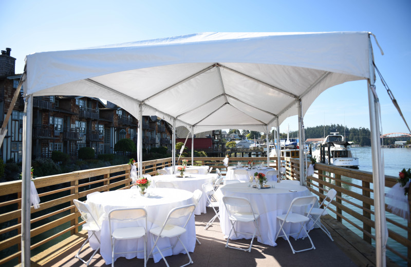 This gorgeous outdoor space over looks the Swinomish Channel. It is perfect for a small wedding, reception, party, wine event and more!