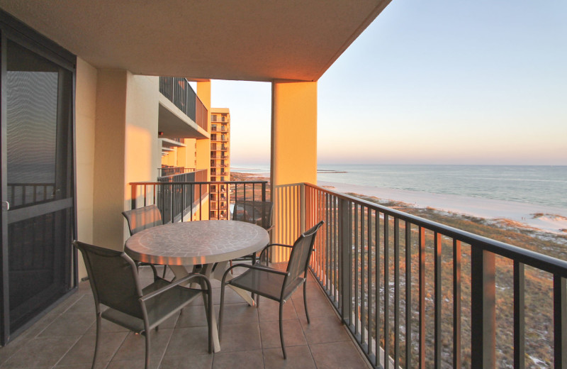 Rental balcony at Gulf Coast Beach Getaways.