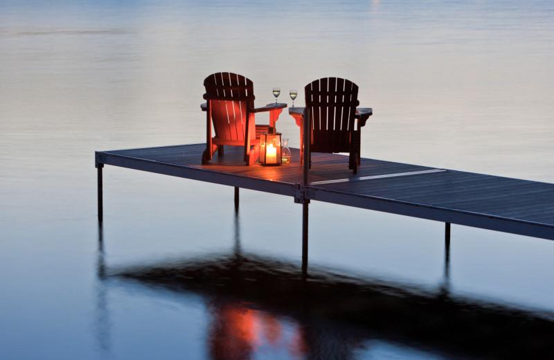 Dock at Sandbanks Summer Village Cottage Resort.
