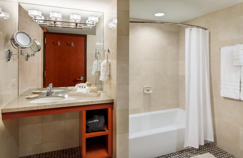 Guest bathroom at Alta's Rustler Lodge.