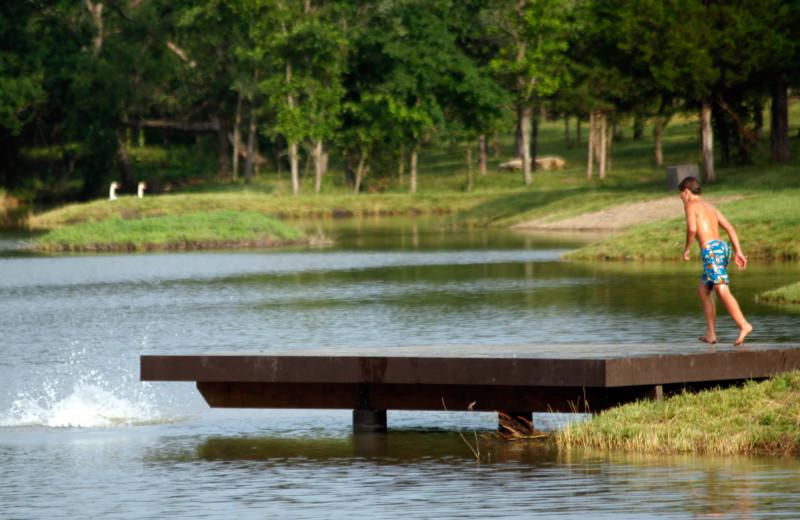 Lake dock at Morrell Ranch.