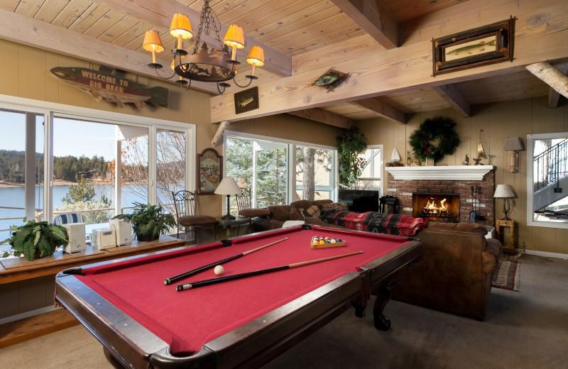 Rental billiard room at Big Bear Cool Cabins.