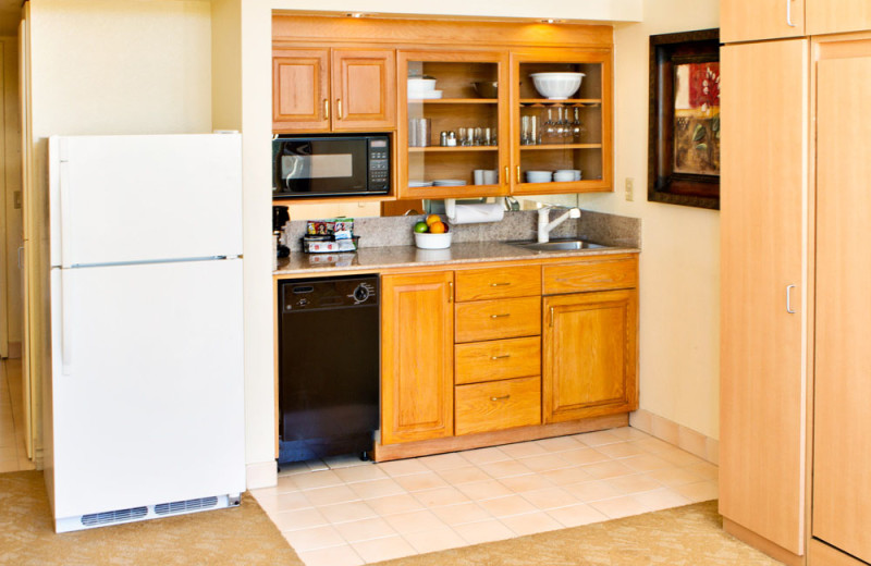 Kitchen in a Studio Unit at the Coronado Beach Resort