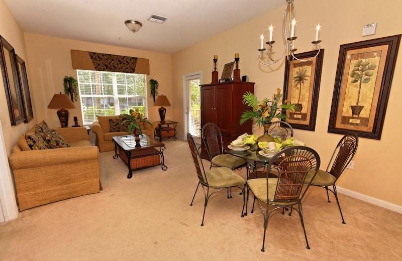 Vacation rental living and dining room at Vista Cay Inn.