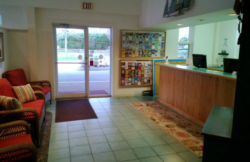 Reception area at Bar Harbor Motel.
