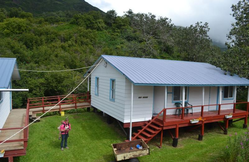 Cabin exterior at Zachar Bay Lodge.