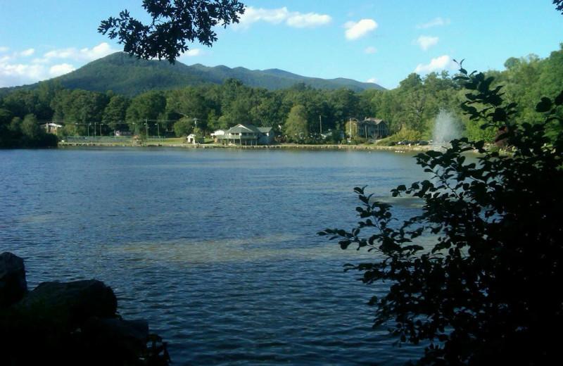 View of lake at Greybeard Rentals.