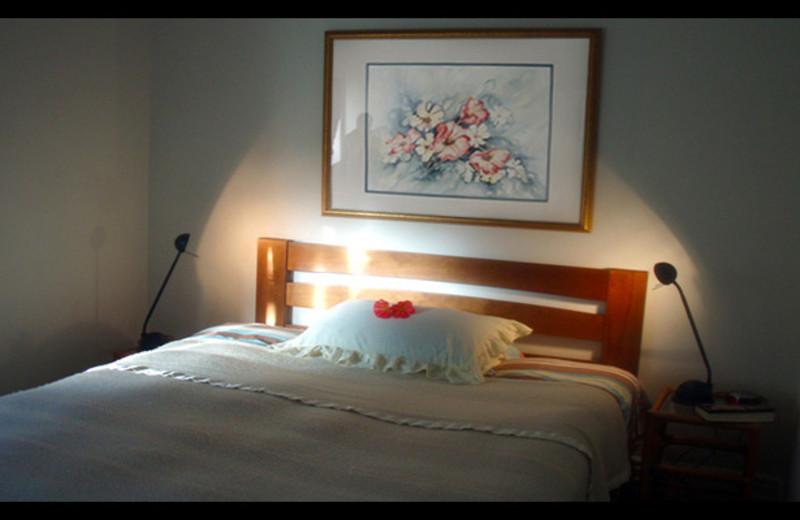 Guest bed at Devonport Villa Bed and Breakfast Inn.