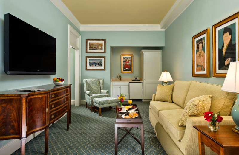 Suite sitting room at The Otesaga Resort Hotel.