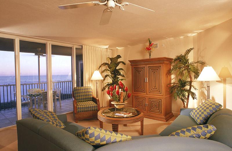 Condo Living Room at Gullwing Beach Resort