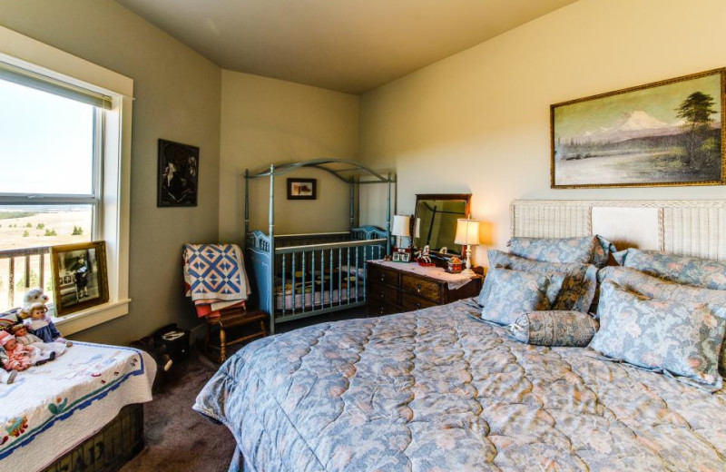 Vacation rental bedroom at Vacasa Rentals Mt Hood.