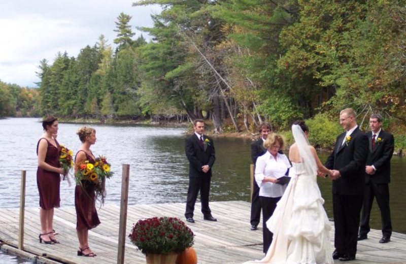 Wedding ceremony at Northern Outdoors.