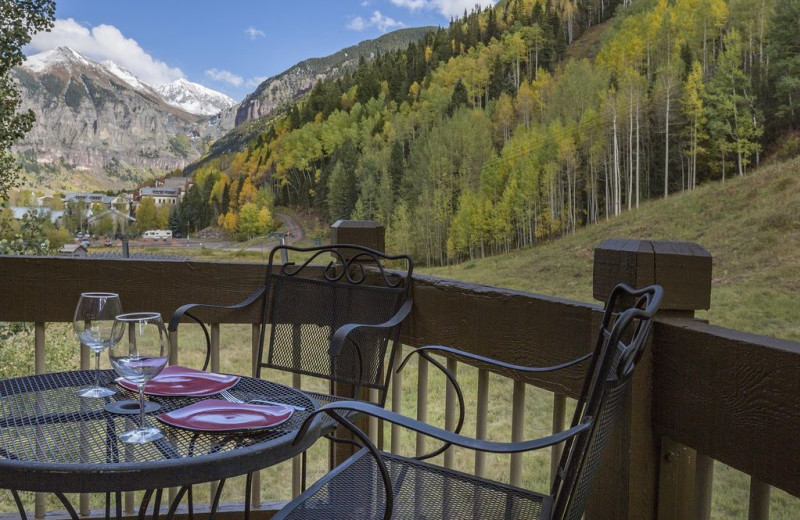 Rental balcony at Welcome to Telluride Vacation Rentals.