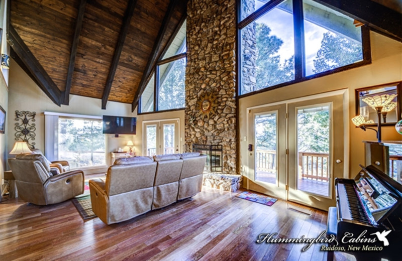 Great room with fireplace at Hummingbird Cabins - Holly House Vacation Rental