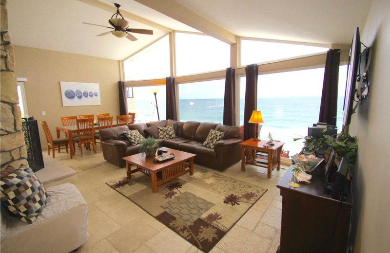 Rental living room at Vacation Rentals by McLain Properties.