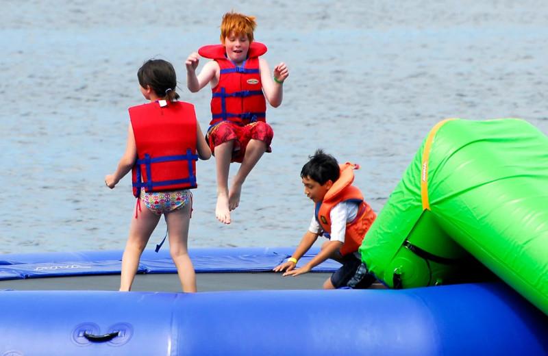 Water trampoline at Bayview Wildwood Resort.