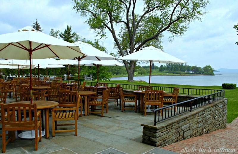 The Hawkeye Grill Patio at The Otesaga Resort Hotel.