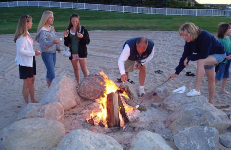 Campfire on the beach at Bay Harbor Resort and Marina.